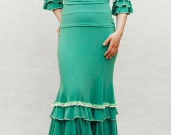 Aquamarina Flamenco Skirt, Emerald Green