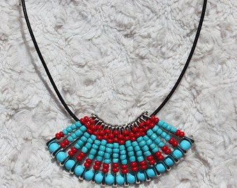 Turquoise and Red Fan Safety Pin Necklace