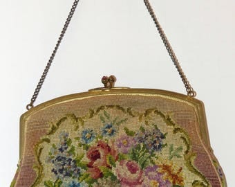 Sweet Antique Petit Point or Needlepoint Tapestry Purse with Carnelian Stone Clasp Excellent Condition!