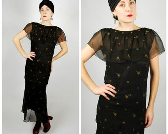 1920's Dress - 20's Black Embroidered Dress - Chiffon Flapper Dress - Size S