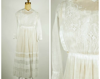 1910 Edwardian Dress - Tea Dress - Lawn Dress - Antique Embroidered Dress - Size Small