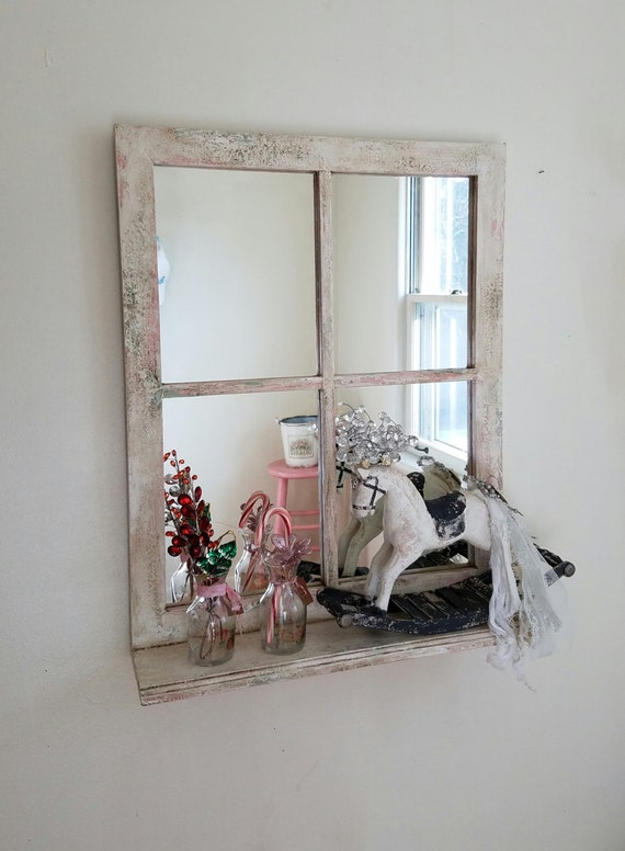 Window Pane Mirror With Shelf Decorative Mirror Shabby Cottage