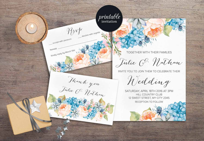 Wedding Invitations Shops: Floral Wedding Invitation Printable Spring Summer Wedding