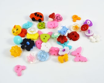 60 PC Mixed colorful buttons Center Plastic Shapes Assorted Kawaii