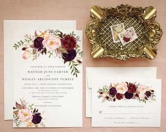 Boho Floral Wedding Invitations in Marsala and Blush