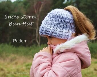 Messy Bun Hat Pattern - Snow Storm - Bun hat Crochet Pattern Messy Bun hat crochet pattern Pony tail hat crochet pattern Sizes 2 yrs - Adult