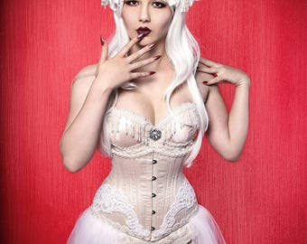 White Wig/ White Headdress/ Flower Crown/ Fawn Headdress/ Horned Headdress/ Costume Wig/ Cosplay Wig/ White Flowers/ Fantasy Wig/