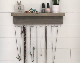 Wall Mount Jewelry Organizer, Necklace Holder with shelf