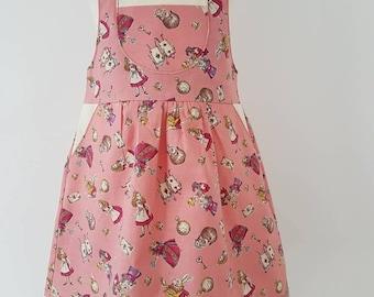 Alice in wonderland dungaree dress, mad hatter, queen of Hearts, girls dress, UK seller