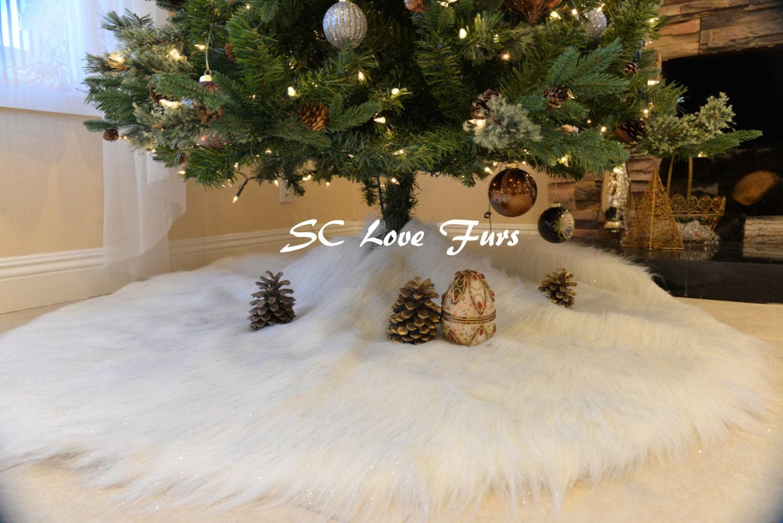 Promo 30 48 60 White Plush Fur Sparkle Tinsel Tip White