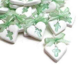 Baptism Witness Pins, White Heart Cross Charms, Witness Pin for Boy, Greek Baptism Pins, Clay Heart Charms, Packs of 20, 40, 60