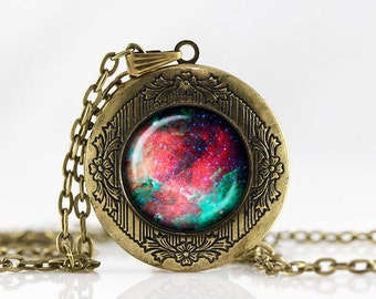 Nebula Locket Necklace  jewelry Personalized Photo Locket Customized with your Photo pendant  photo locket Galaxy necklace