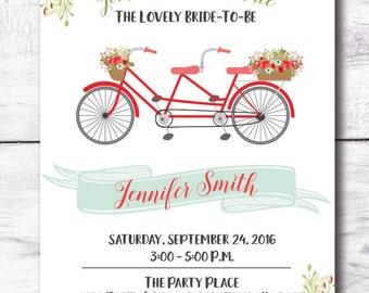 Coral Mint Bridal Shower Invitation - Bicycle Bridal Shower Invitation, Country Chic Bridal Shower Invite, Printed Invite, Digital Invite