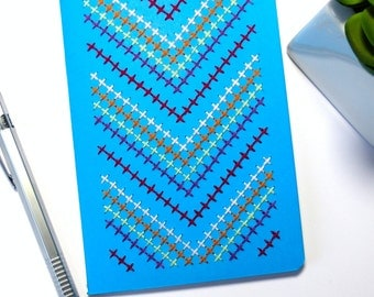 Hand embroidered azure blue notebook multicolor cross stitch chevrons pattern-A6-drawings-writing-graphic textile design-man woman teen gift