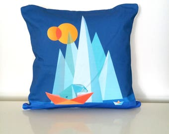 Row your boat cushion, Nursery cushion cover, Bear & Mountains, Scandinavian pillow, Decorative throw pillow, Geometric art, INSERT INCLUDED