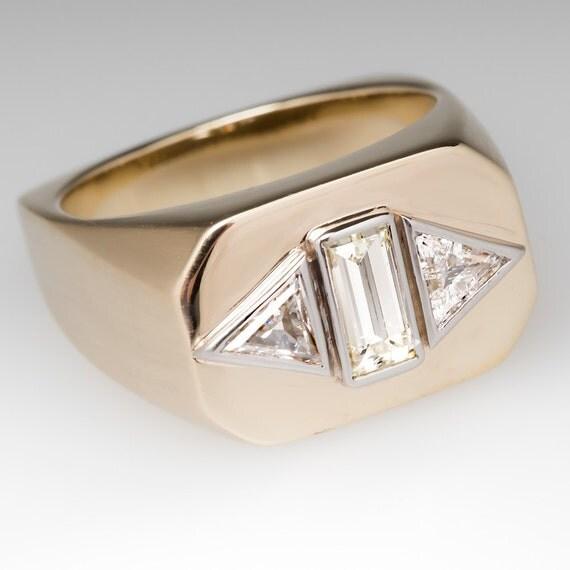 Bague En Platine Homme : Vintage bague pour homme diamant trois pierre platine