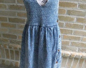 Size Small Vintage Acid Wash Denim Jumper by Clique / Made in USA / Acid Wash Jumper / Tank Dress / Denim Acid Wash Dress / Size Small