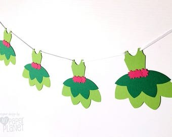 Flower Fairy Tutu Party Banner. Green & Pink. Baby girl, Birthday Party, Bunting, Garland. Baby shower, ballet dress, party decorations.