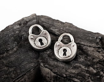 Silver Lock Charms 15x20mm, Double Sided Antique Silver Tone Padlock Metal Charms - 2 pieces