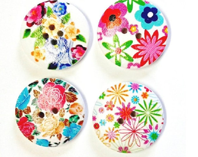 4 x 30mm Multicoloured 4 flower wooden buttons PACK 6