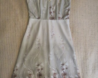 70's Cream, Rust and Earth tone Dress