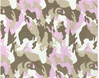 "Pink and White Camo Spandex Fabric SALE 4 Way Stretch Lycra Knit By The Yard 60"" Wide"