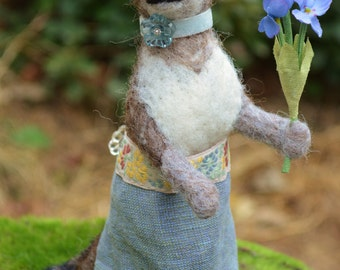 Lady Wolf one of a kind needle felted sculpture