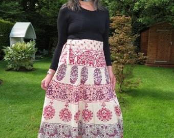 Vintage 1970s Indian Block Print Maxi Wraparound Skirt by Chelsea Girl