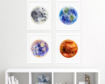 Kids Wall Art - Outer Space Print Set - Space Nursery Decor - Outer Space Decor - Solar System Art - Space Art - Astronomy - Boys Room Decor