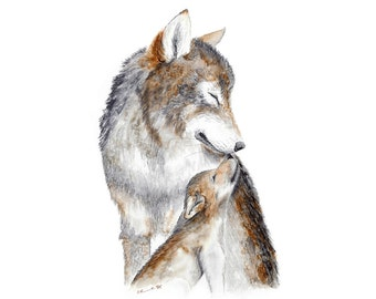 Woodland Nursery Decor, Wolf Art Print, Baby Animals and Moms, Wolf Nursery Art, Woodland Nursery Print, Animal Art, Gray, Neutral