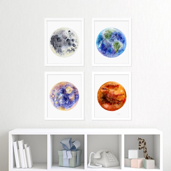Kids wall art outer space print set space nursery decor for Decor outer space