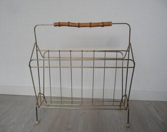 Vintage newspaper rack,magazine holder,rare newspaper stand.metal and wood newspaper stand