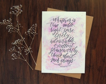 Scripture card, Christian card, Philippians 4:8, watercolor Christian greeting, Encouragement cards, Bible verse