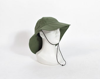 20% OFF SALE - Bergans of Norway Olive Green Waterproof Fisherman Sailor Rain Hat / Size M