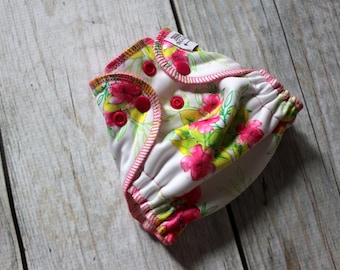 Newborn Cloth Diaper - Newborn AI2 Diaper - Newborn Diaper Cover - All In Two - Pink Floral Cloth Diaper - Floral Diaper - Newborn Diaper