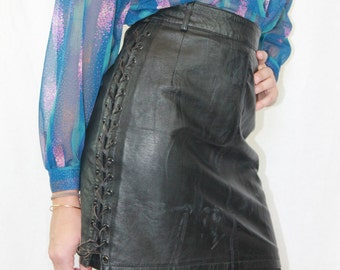 Vintage 80's  leather mini skirt. Size 10 UK. Made in Spain.