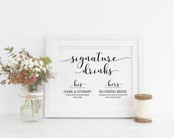 Signature Drinks Sign Printable, Editable Signature Drinks Sign, Wedding Bar Sign, Wedding His and Hers Drink Sign. Instant Download WC2