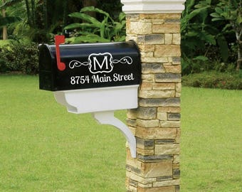 Custom Mailbox Decal, Monogram Mailbox, Mailbox Sticker, Personalized Mailbox, Mailbox Number, Mail Box Decal, 2 Decal Set