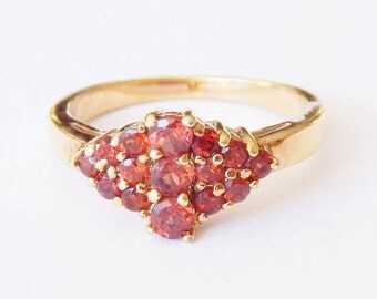 Orange-Red Multi-Stone Ring With Gold Setting - Size 7
