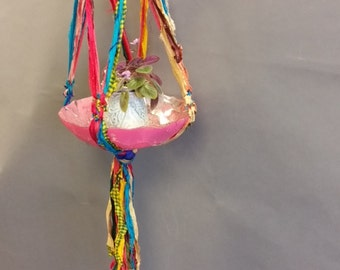 Plant Hanger, Decorative. Made From Re-Purposed Silk Sari Yarn Ribbon. Macrame Knots. Vintage Glass Plate.