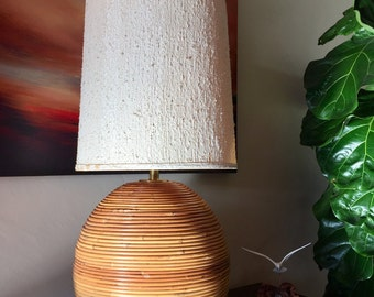 Large Circular Gabriella Crespi Style / Pencil Wrapped Bamboo Brass Accent Lamp