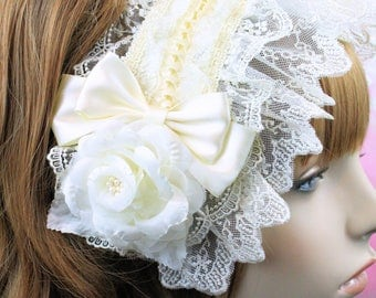 Lolita headdress-classic lolita-maxipad headdress-old school lolita-ivory accessory-off white accessory-gothic lolita accessory-kawaii