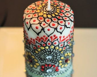 Handmade Candle. Birthday Gift. Henna inspired candle. Wedding favours.