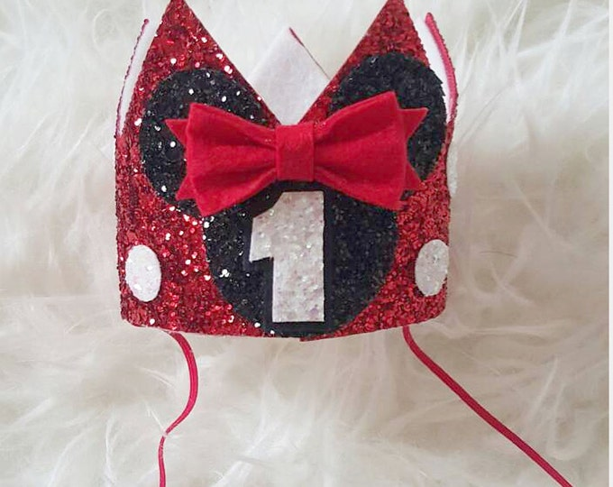 Minnie Mouse Glittery Birthday Crown || Crown || Minnie Mouse Birthday || Disney || Disney Birthday