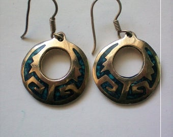 Mexican Aztec Sterling Silver Turquoise Disc Earrings - 5271