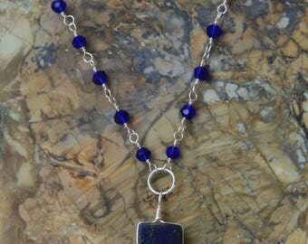 Natural Blue Stone Glass Beaded Necklace Pendant