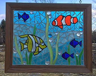 Stained Glass Tropical Fish Mosaic  - Aquarium Stained Glass  Panel - Ocean Home Decor - Aquarium Mosaic Tropical Fish Stained Glass