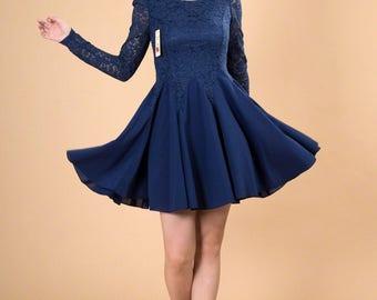 Blue Lace Chiffon Dress / Blue Fit and Flare Dress /Long Sleeve Lace Dress/Blue Lace Cress/Navy Lace Dress / Blue Prom Dress / AS2