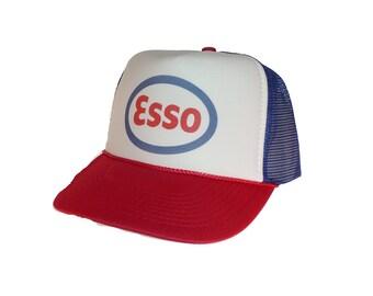 Esso Gasoline hat Trucker hat mesh hat new adjustable retro look red white blue