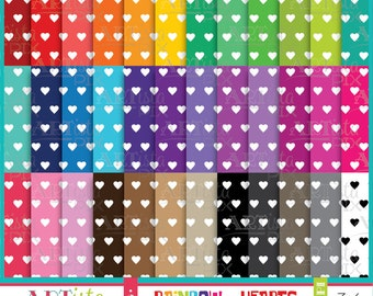 Heart Digital Paper Pack, Rainbow Digital Paper, Scrapbooking, Invitations, Graphics